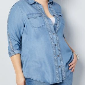BUTTON FRONT DENIM SHIRT WITH EMBROIDERED TRIM